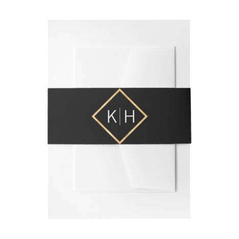 Personalized Monogram Gold Frame Black Wedding Invitation Belly Band