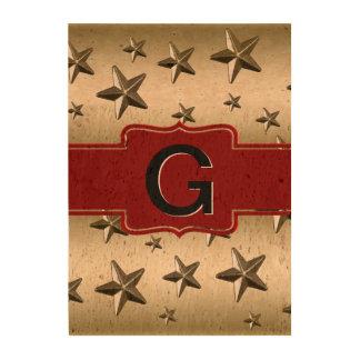 Personalized Monogram Gold Shiny Stars Queork Photo Prints