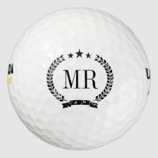 Personalized monogram golf balls with classy crest