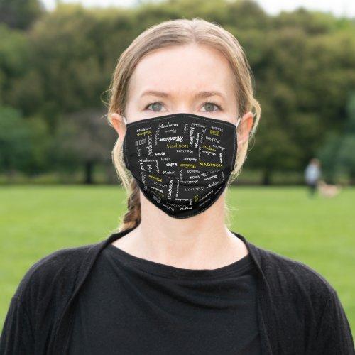 Personalized Monogram Gothic Black Cloth Face Mask