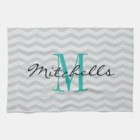 Personalized monogram gray chevron kitchen towels