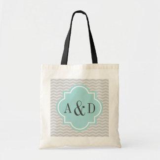 Personalized monogram gray chevron stripe tote bag