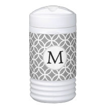 Personalized Monogram Gray Double Rings pattern Beverage Cooler