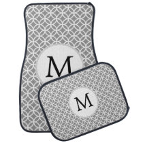 Personalized Monogram Gray Double Rings pattern Car Floor Mat