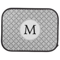 Personalized Monogram Gray Double Rings pattern Car Mat