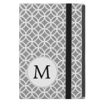 Personalized Monogram Gray Double Rings pattern Case For iPad Mini