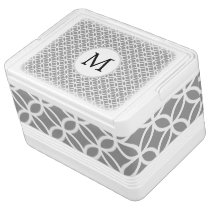 Personalized Monogram Gray Double Rings pattern Drink Cooler