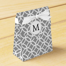 Personalized Monogram gray double rings pattern Favor Box