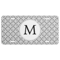 Personalized Monogram Gray Double Rings pattern License Plate