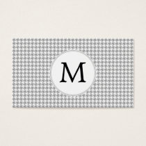 Personalized Monogram Gray Houndstooth Pattern Business Card