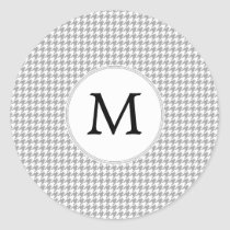 Personalized Monogram Gray Houndstooth Pattern Classic Round Sticker
