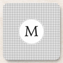 Personalized Monogram Gray Houndstooth Pattern Coaster