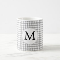 Personalized Monogram Gray Houndstooth Pattern Coffee Mug