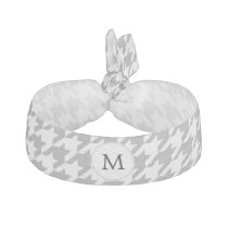 Personalized Monogram Gray Houndstooth Pattern Elastic Hair Tie