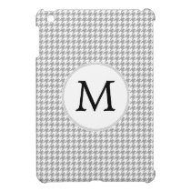 Personalized Monogram Gray Houndstooth Pattern iPad Mini Cover