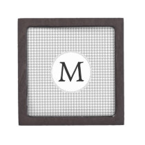 Personalized Monogram Gray Houndstooth Pattern Jewelry Box