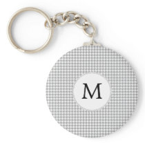 Personalized Monogram Gray Houndstooth Pattern Keychain