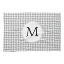 Personalized Monogram Gray Houndstooth Pattern Kitchen Towel