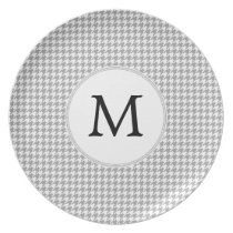 Personalized Monogram Gray Houndstooth Pattern Melamine Plate