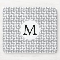 Personalized Monogram Gray Houndstooth Pattern Mouse Pad