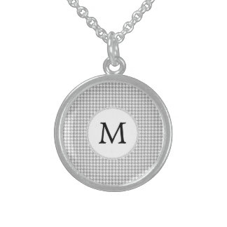 Personalized Monogram Gray Houndstooth Pattern Sterling Silver Necklaces