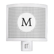 Personalized Monogram Gray Houndstooth Pattern Night Light
