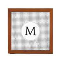 Personalized Monogram Gray Houndstooth Pattern Pencil/Pen Holder