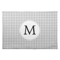 Personalized Monogram Gray Houndstooth Pattern Placemat