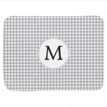 Personalized Monogram Gray Houndstooth Pattern Receiving Blanket