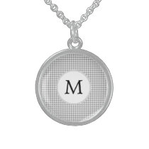 Personalized Monogram Gray Houndstooth Pattern Sterling Silver Necklace