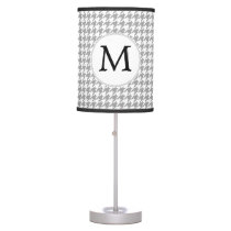 Personalized Monogram Gray Houndstooth Pattern Table Lamp