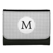 Personalized Monogram Gray Houndstooth Pattern Women's Wallet