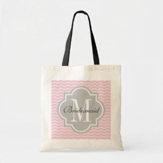 Personalized monogram gray pink chevron tote bag