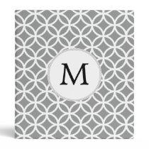Personalized Monogram Gray rings pattern 3 Ring Binder