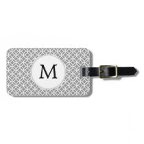 Personalized Monogram Gray rings pattern Bag Tag