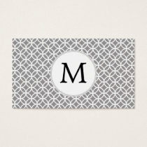 Personalized Monogram Gray rings pattern Business Card