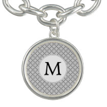Personalized Monogram Gray rings pattern Charm Bracelets