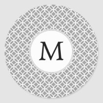 Personalized Monogram Gray rings pattern Classic Round Sticker