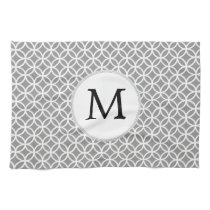Personalized Monogram Gray rings pattern Hand Towel