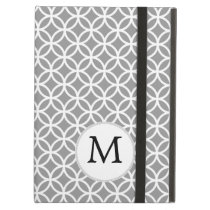 Personalized Monogram Gray rings pattern iPad Air Covers