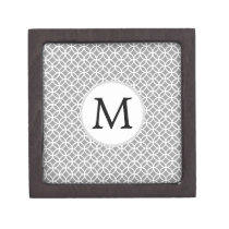 Personalized Monogram Gray rings pattern Jewelry Box