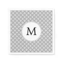 Personalized Monogram Gray rings pattern Napkin