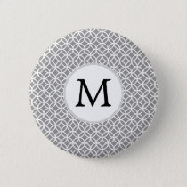 Personalized Monogram Gray rings pattern Pinback Button