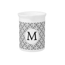 Personalized Monogram Gray rings pattern Pitcher