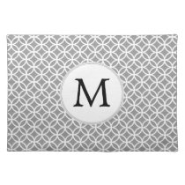 Personalized Monogram Gray rings pattern Placemat