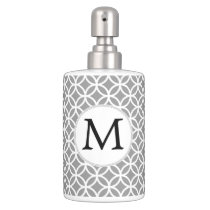 Personalized Monogram Gray rings pattern Soap Dispenser And Toothbrush Holder