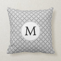 Personalized Monogram Gray rings pattern Throw Pillow