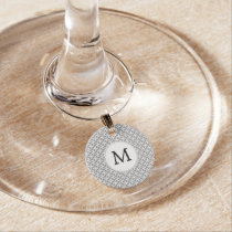 Personalized Monogram Gray rings pattern Wine Glass Charm