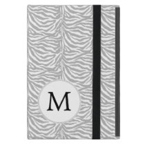 Personalized Monogram Gray Zebra Stripes iPad Mini Cases