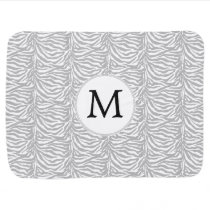 Personalized Monogram Gray Zebra Stripes pattern Baby Blanket